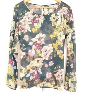 Guess Multicolored Floral Print Sheer Top Size M.